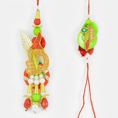 Leafy Golden Designer Zardosi Pearl Work Bhai Bhabhi Rakhi Set