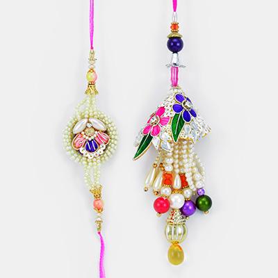 Royal Princy Pearl Flowered Rakhis for Bhaiya Bhabhi