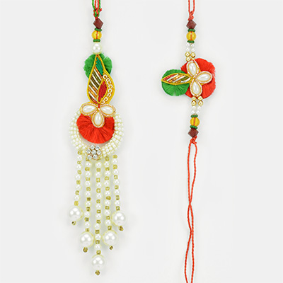 Queen Pearl Drops Key Chain Lumba and Floral Pearl Bhaiya Rakhi