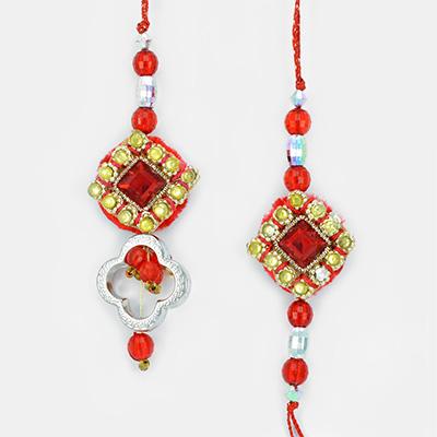 Red Square Crystal with Diamond Rakhis for Bhaiya Bhabhi