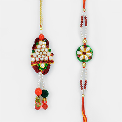 Tri Drop Pearl Lumba and Kundan Touch Rakhi for Bhaiya