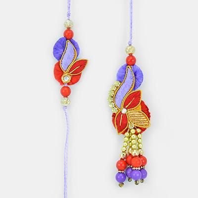 Zardozi Red Blue Leave Theme Pair Rakhis for Bhaiya Bhabhi