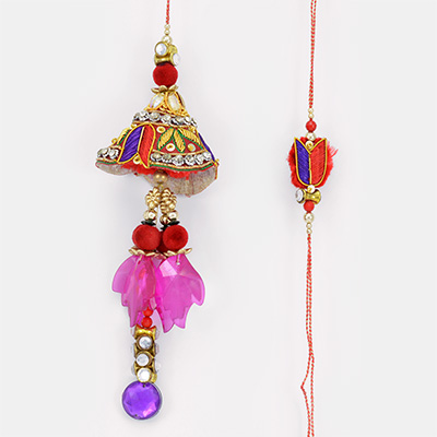 Red Blue Designer Crystal Pair Rakhi for Bhaiya Bhabhi