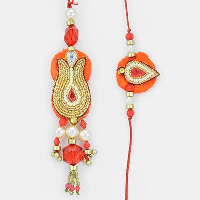 Indian Traditional Zardosi- Pearl Red Crystal Rakhi Pair