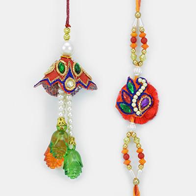 Flower Crystal Drop Beads with Pearl Floral Pair Rakhi