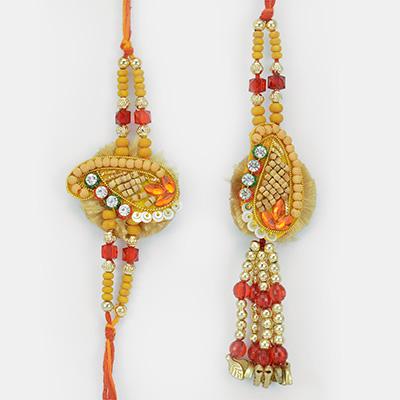 Ceremic Sandalwood Touch Beads Pair Rakhi