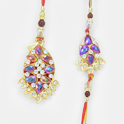 Attractive Cut Shaped Colorful Gems Rakhi set