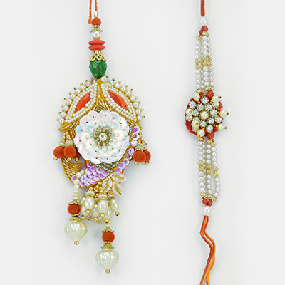 Excellent Pearl Tari Diamond Rakhis Pair for Bhaiya Bhabhi
