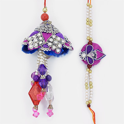 Beautiful Crystal Beads Pearl Diamond Rakhis for Bhaiya Bhabhi