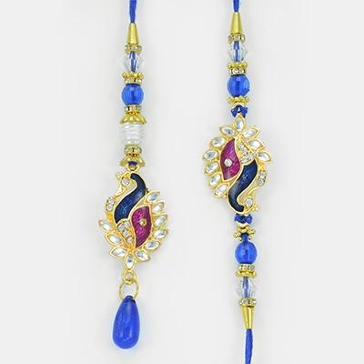 Beautiful Meena Kundan Peacock Set of Rakhi