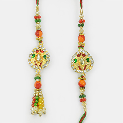 Traditional Bhaiya Bhabhi Pair Rakhi with Meena Diamond Work