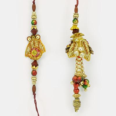 Red Stone and Golden Beads Zardosi Rakhi for Bhaiya and Bhabhi