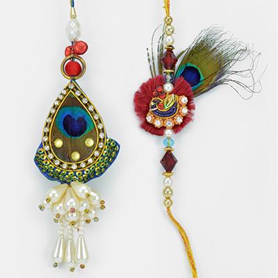 Peacock Feather Pearl Bhaiya Bhabhi Rakhis