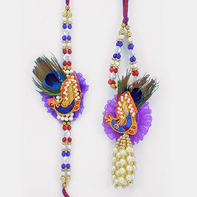 Blue Theme Peacock Zari Work Pair Rakhi with Floral base