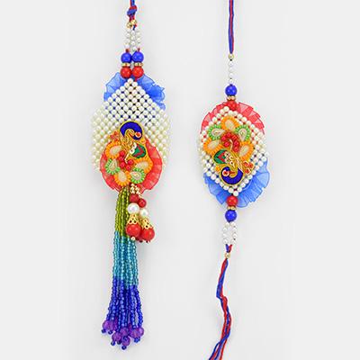 Peacock Mat Beads Bhaiya Bhabhi Rakhi