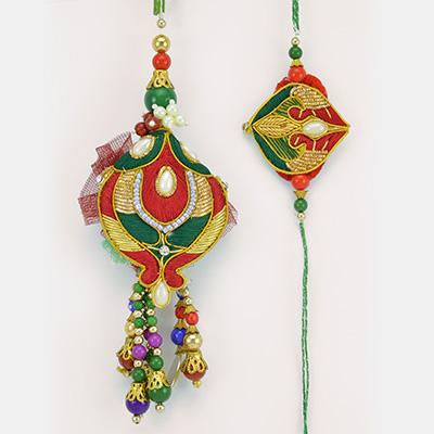 Amazing Leafy pattern Mauli Colored Designer BB Rakhi Set with Beads