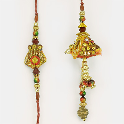 Golden Beads and Zari Zardozi work Rakhi Set for Bhaiya Bhabhi