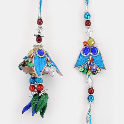 Lovable Moments Designer Colorful Bhaiya Bhabhi Rakhi Set