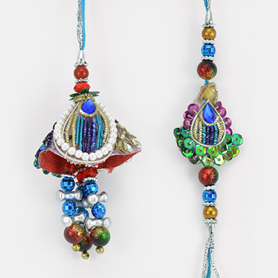 Muti Shaped Colorful Danglers and Pearl Zari Work Rakhi Set