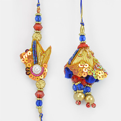 Multi color Jewels Zari Beaded Rakhi for Bhaiya and Bhabhi