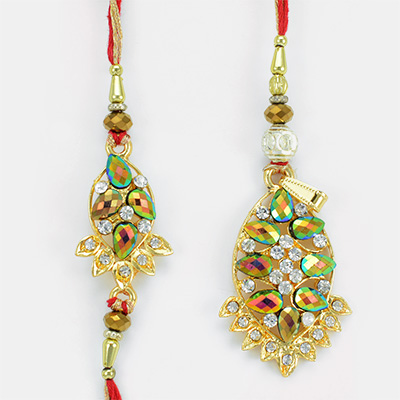 Attractive Cut Shaped Colorful Gems Rakhi Pair