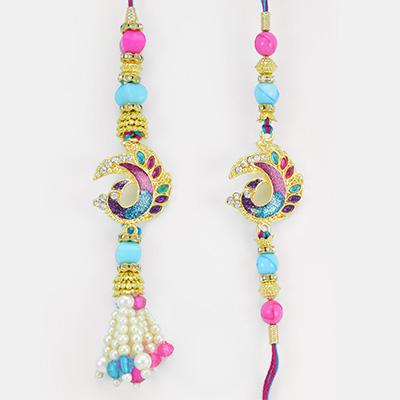 Peacock Ad Work Pearl Diamond Pair Rakhi with Multi-color Beads