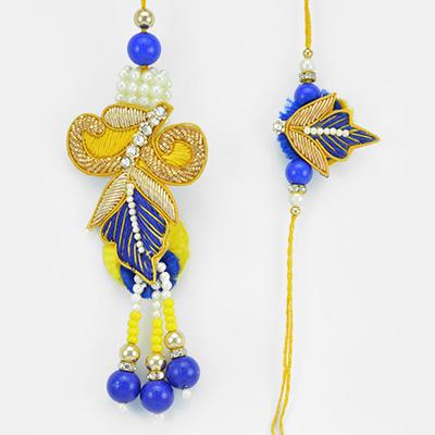 Pearl Zari Blue Theme Beautiful Bhaiya Bhabhi Rakhi Set
