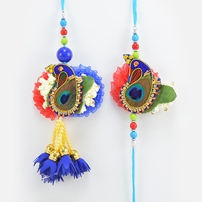 Peacock Design Colorful Fancy Attractive looking Rakhi for Brother and Bhabhi