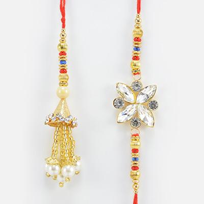 Flower Shape Big Jewel Studded Bhaiya Rakhi with Hanging Pearl Lumba Rakhi for Bhabhi