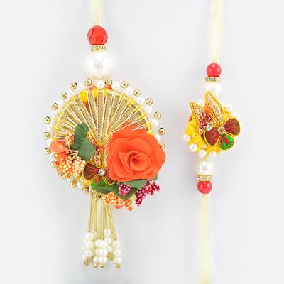 Flower Shape Zardosi Rich Work Hand Crafted Beautiful Rakhi Pair for Brother and Bhabhi