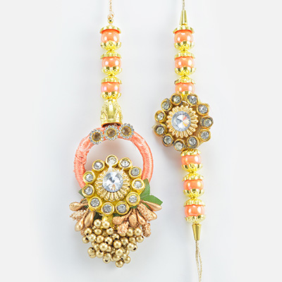 Heavy Design Magnificent Looking Awesome Rich Looking Pair of Rakhis for Bhaiya and Bhabhi