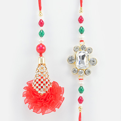 Simple and Magnificent Looking Beautiful Pair of Jewel Rakhis for Brother and Sister in Law