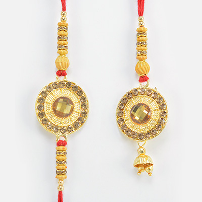 Kundan Crafted in Mid Coin Shape Rakhi for Brother with Lumba Rakhi for Bhabhi