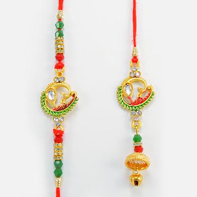 Marvelous Peacock Special Design Colorful Thread Rakhis Pair for Bhaiya and Bhabhi