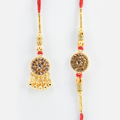 Attractive Looking Jewel Studded in Golden Color Amazing Looking Awesome Rakhi Pair of Bhaiya Bhabhi Rakhis