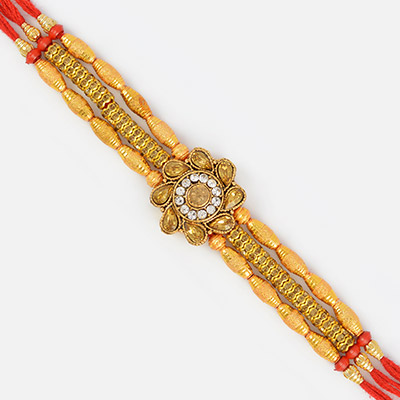 Golden Floral Designer Diamond and Beaded Rakhi