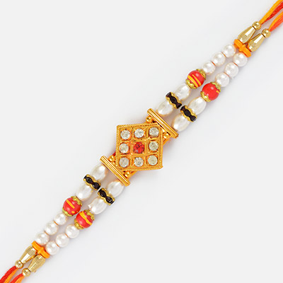 Golden Designer Rakhi with Red and White pearl