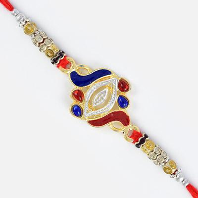 Beautiful Designer Golden and Silver Colored Rakhi