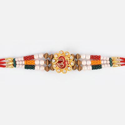Floral Shape OM Rakhi with Diffenrent Beads