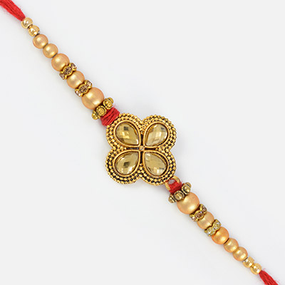 Pearl and Golden Beads Floral Designer Rakhi