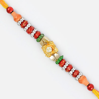 Glaring Silver Golden and Red Beaded Rakhi with Diamond