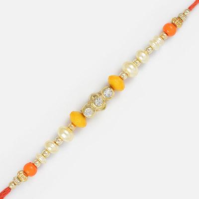 Impressive Colorful Pearl and Diamond Rakhi Rakhi for Brother