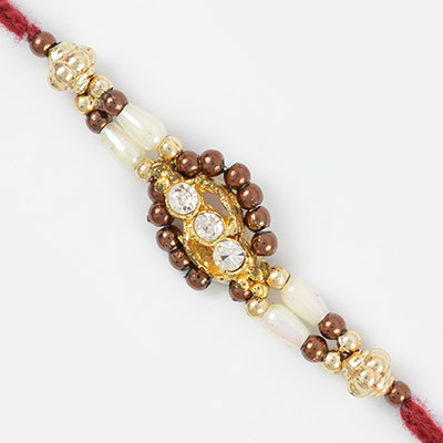 Pleasant Fancy Designer Rakhi with Pearls and Colorful Beads