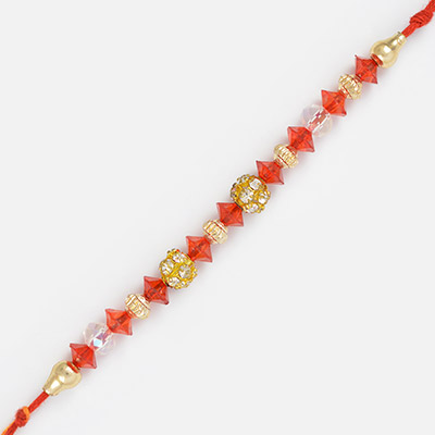 Endless Sisterly Love- Rakhi with Glass Golden and Diamond Work Beads