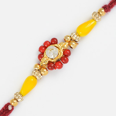 Sparkling Diamond Rakhi Golden Base with Multi-color Beads