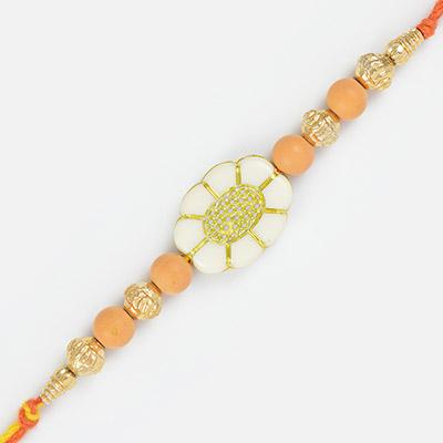 Floral Bloom of Chandan and Golden Beads Rakhi for Brother