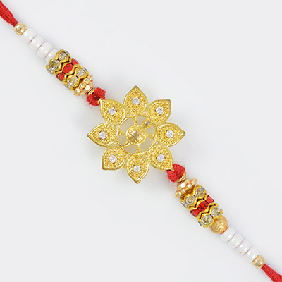 Floral Design Studded Diamond Rakhi with pearl and Beads