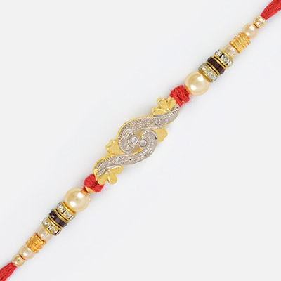 Jaipur Design Silver and Golden Colored Rakhi