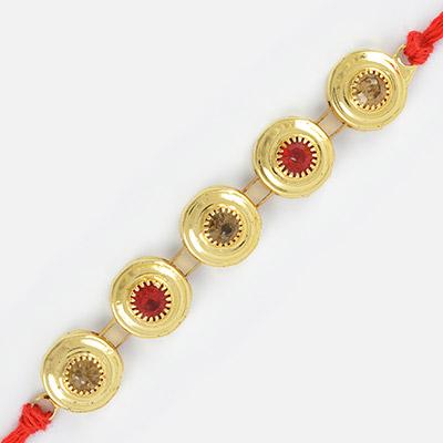 Five Golden Small Coins Studded Diamond Rakhi