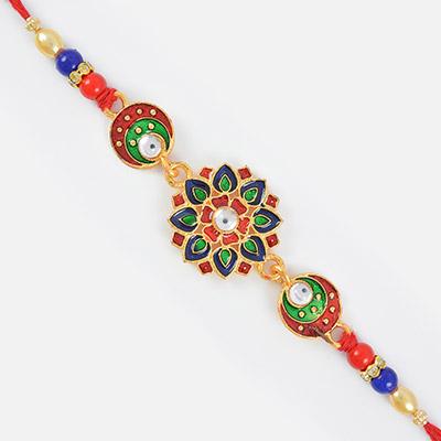 Endeavoring Kundan Work Beads Designer Diamond Rakhi